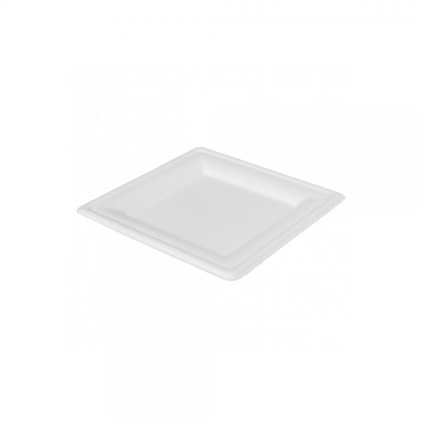 Teller quadratisch Bagasse weiß